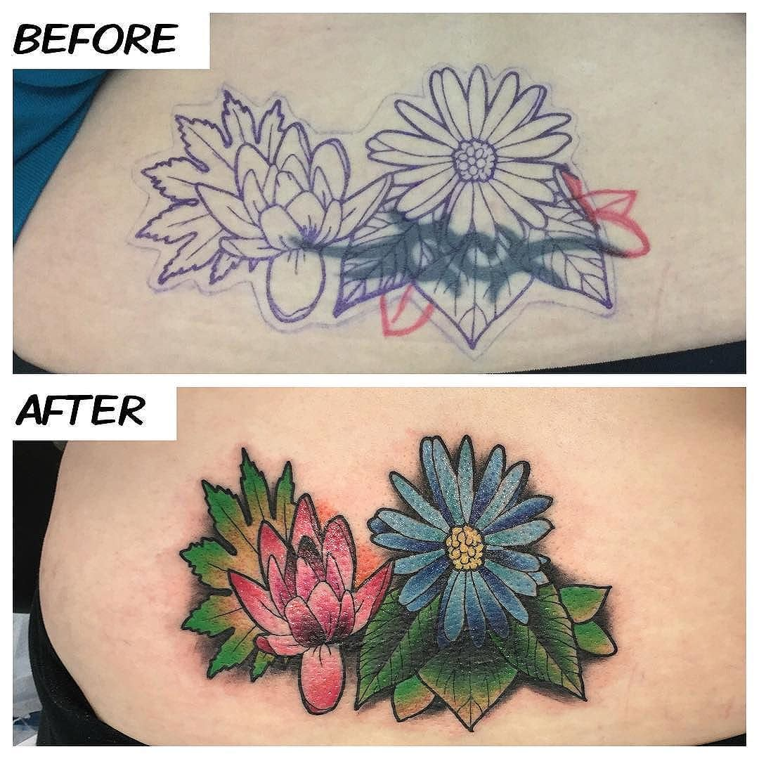 Did this cover-up today for Betsy!! Thank you for coming in!! #kruegertattoo #2189eastridgecenter #7155141263 #eauclaire #wi #tattoo #tattoos #apexpred #solaceskateco #the_grind_fitness_factory #carmikecinema #flowers