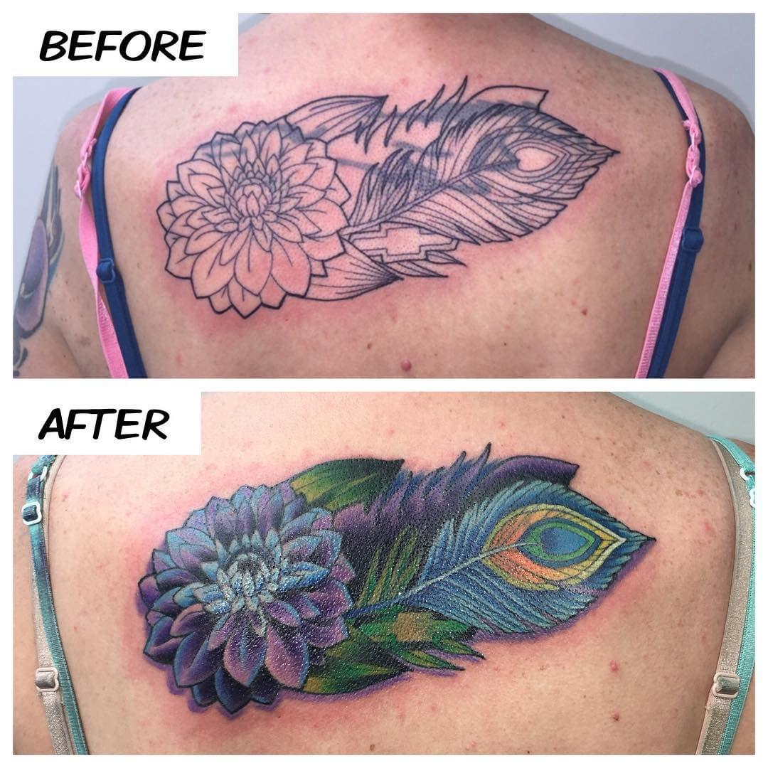 Finished Amanda's cover-up tattoo today!! #kruegertattoo #2189eastridgecenter #cheyennetattooequipment #fusion_inks #7155141263 #eauclaire #wi  #tattoo #tattoos #solaceskateco #carmikecinema